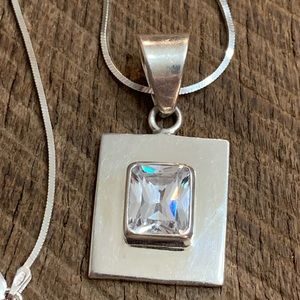Silpada 925 Sterling Silver CZ Pendant Necklace